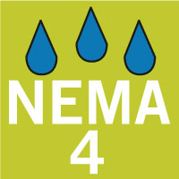 Waterproof according to NEMA 4