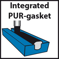 Equipped with integrated PUR-gasket (a.k.a